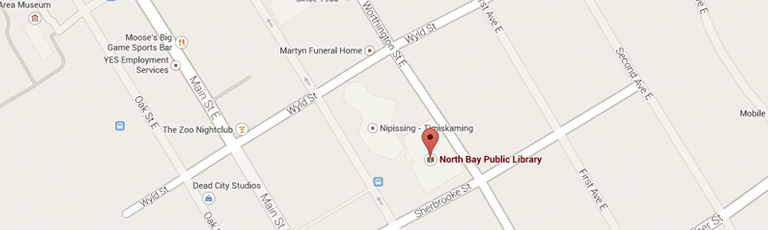 Map showing the location of the North Bay Public Library in North Bay on the corner of Sherbrooke St and Worthington St E